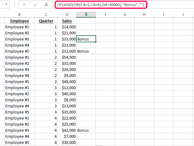 Combining IF, NOT and OR functions