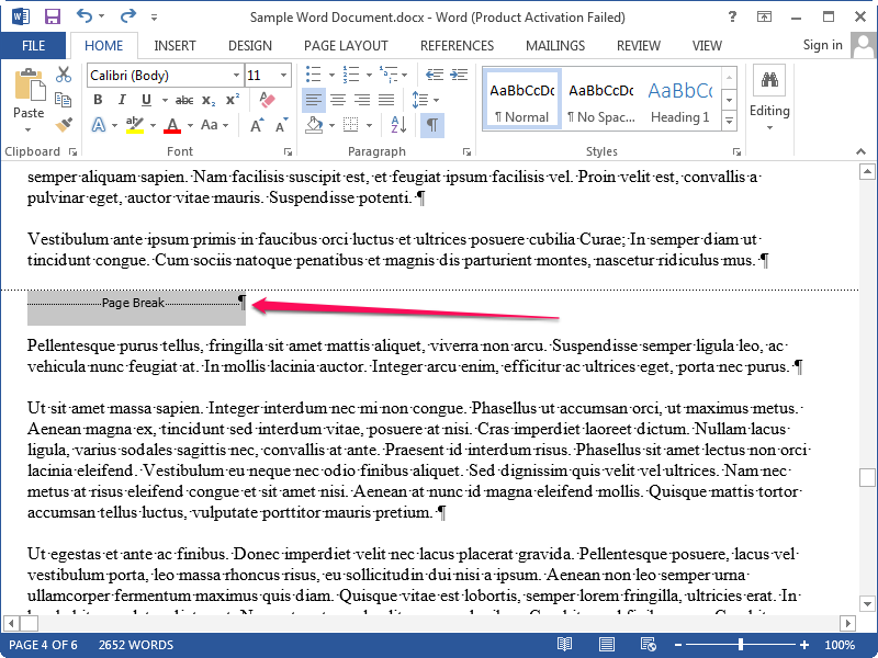 Deleting the Page Break line and paragraph marker.