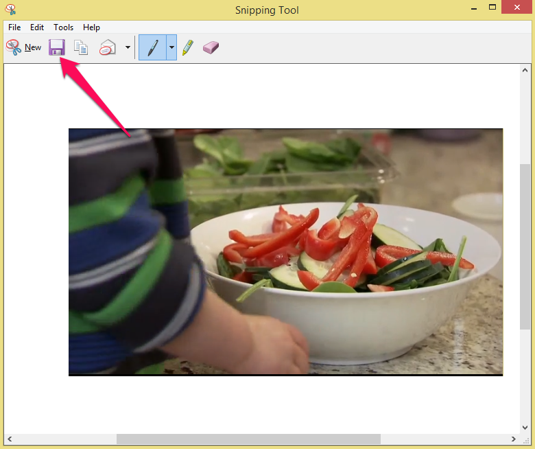 Snipping Tool with Save Snip icon highlighted.