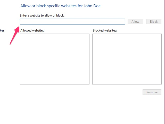 Enter specific websites to allow or block.