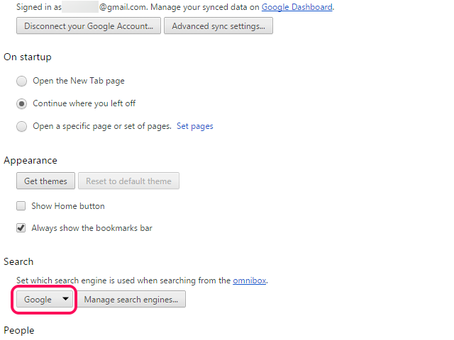 Chrome Options page, with Google option selected from the Search menu.