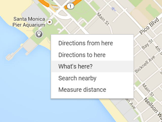 Right-click menu options in Google Maps