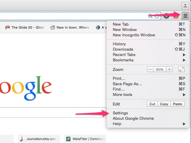 Click the menu button, then click Settings.