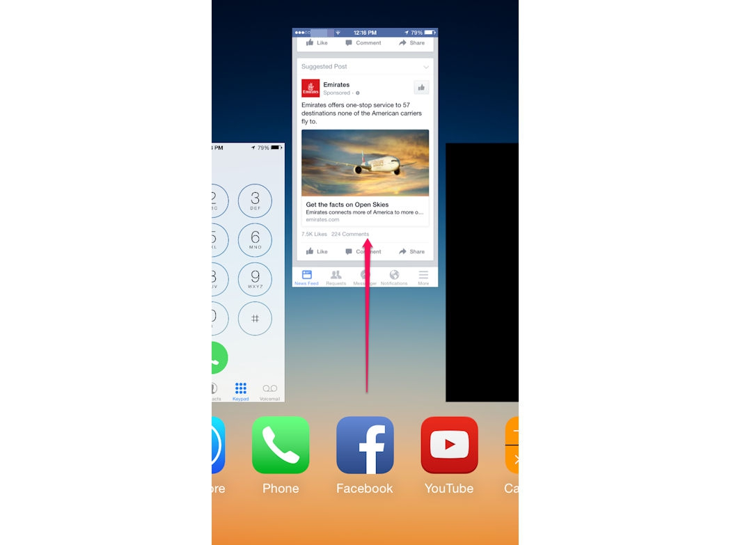 You can close up to three apps simultaneously.