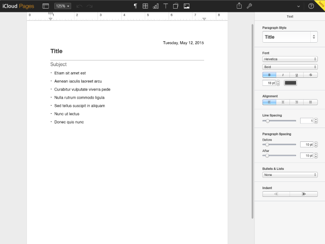 The Pages Editing tab displays your document in the center, with tools to edit the document on the top and tools to format the text on the right