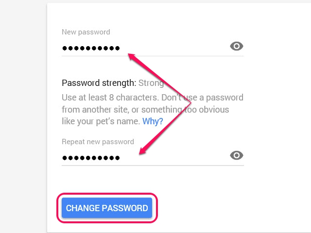 A message confirming the change appears after you click the Change Password button.