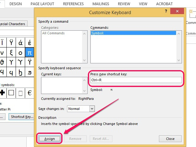 Word assigns the keyboard shortcut.