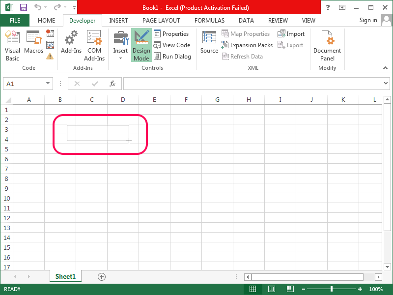 Creating the ActiveX control in Excel.