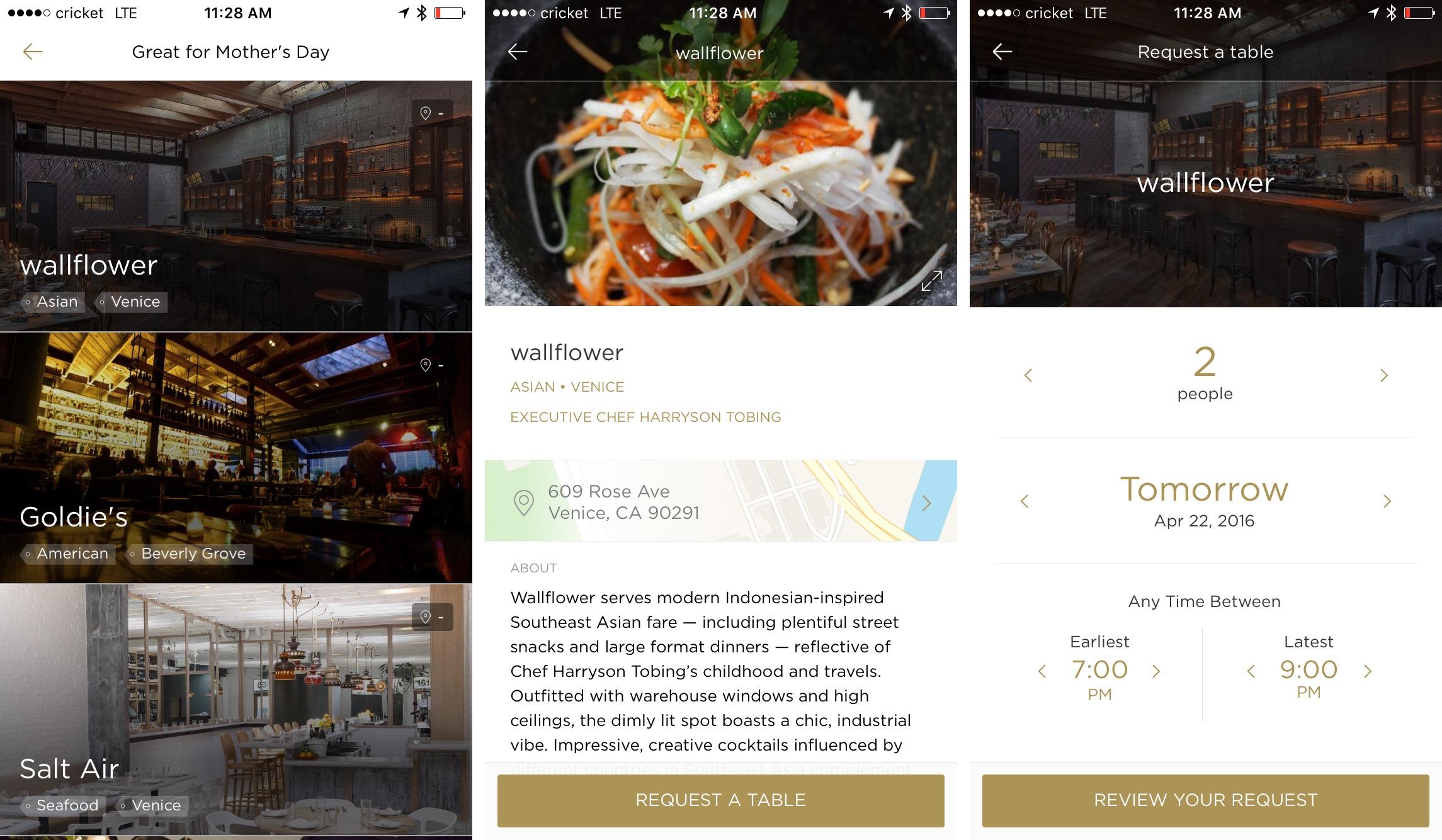 Reserve app for making dinner reservations.