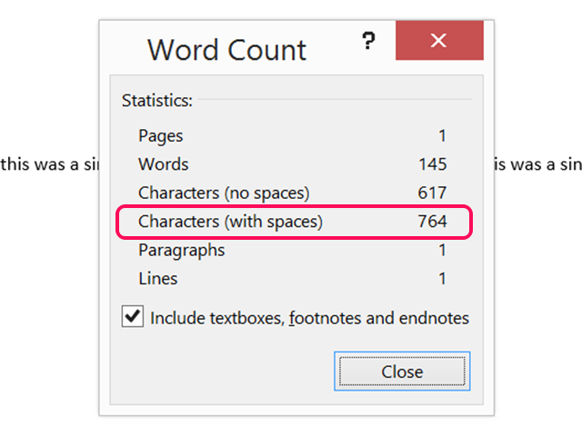 A single line using Word's maximum settings results in 764 characters.