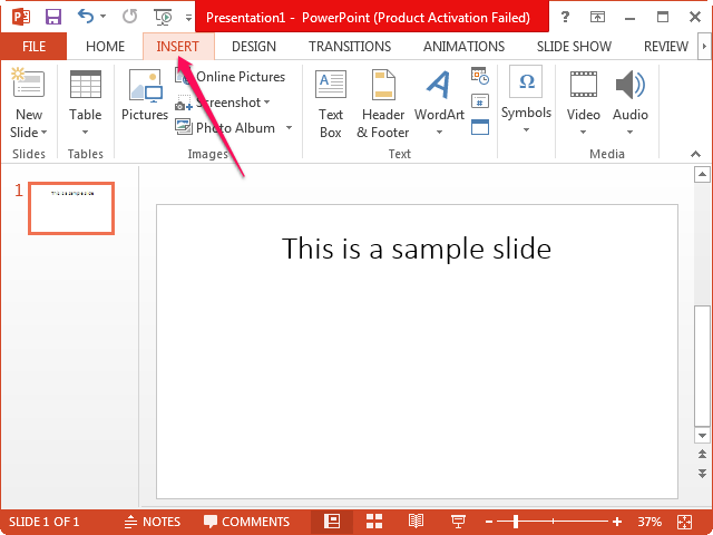 Selecting the Insert tab in PowerPoint.