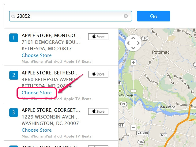 Use the map's navigation controls to view each Apple Store's location.
