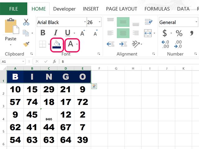 how to make bingo cards in excel. Black Bedroom Furniture Sets. Home Design Ideas