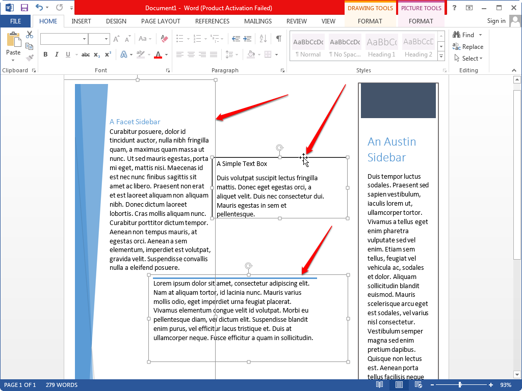 Selecting several different types of text boxes in Word.