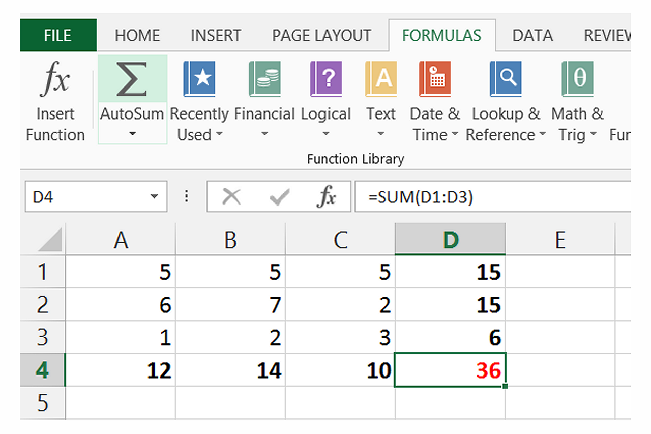 bHow to Sum a Column or Row of Excel Cells