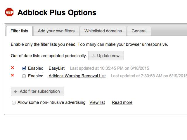 Adblock Options panel (Chrome)