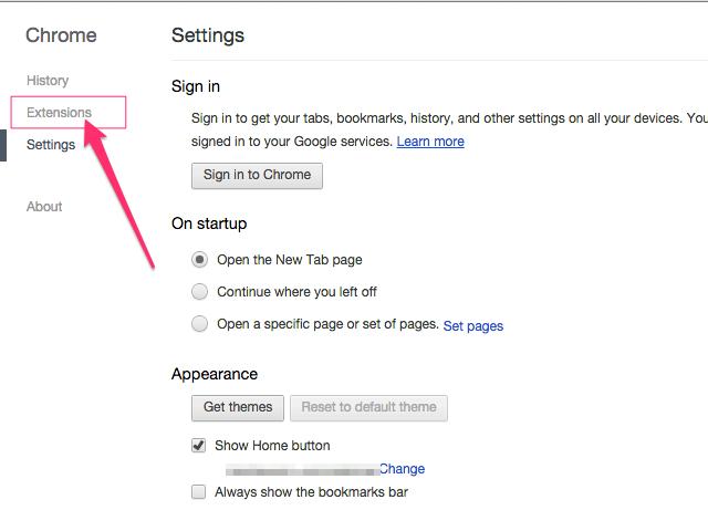 Chrome Settings page (Chrome)