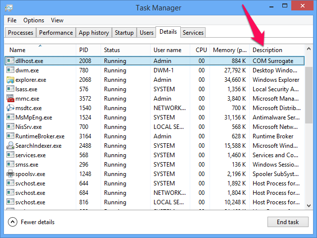 The Description field in the Task Manager Details tab.