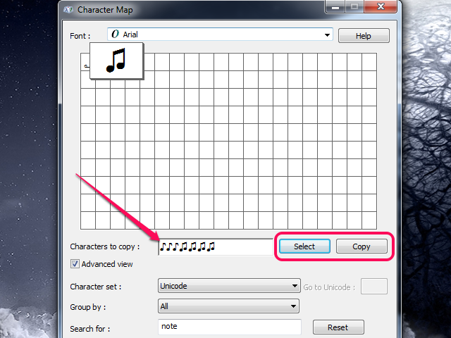 Selecting several music notes and copying them to the clipboard.