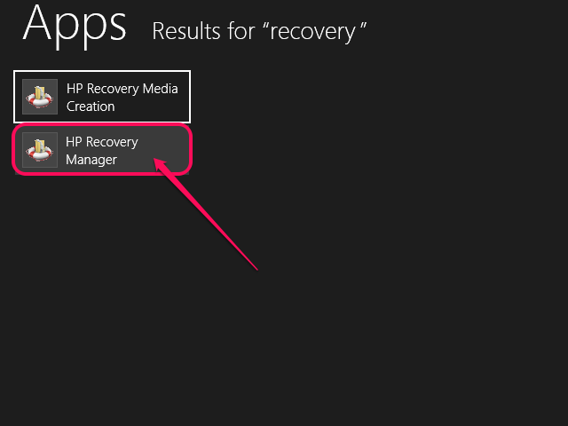 Select HP Recovery Manager from the search results.