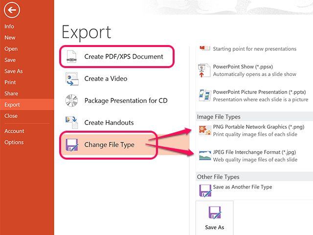 Export a copy as a PDF, JPG or PNG file.