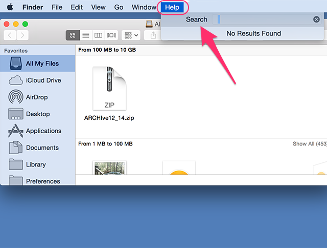 Use the Help menu in a Finder window.