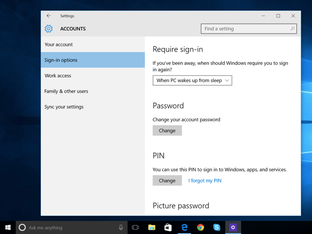 Windows 10's sign-in options.