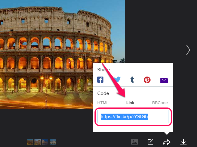 Link tab open with direct link at the bottom.