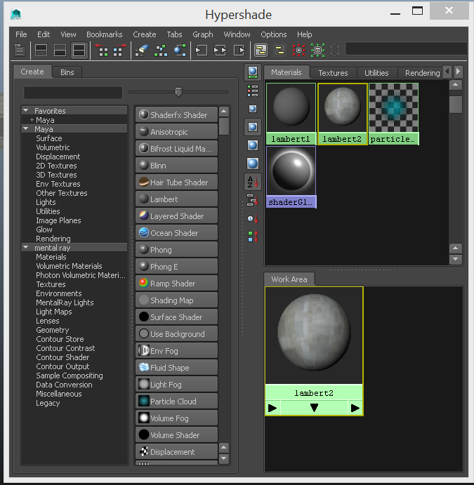 A view of the Hypershade including the default materials.