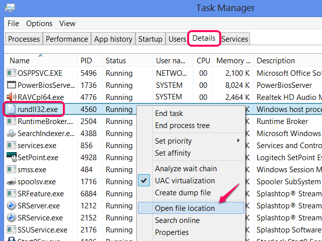Rundll32 in Task Manager.