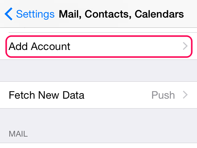 Tap Add Account in Mail, Contacts, Calendars.