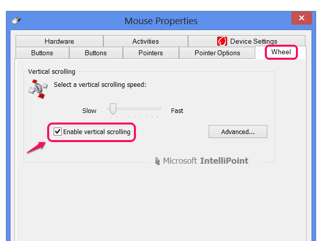 Wheel settings with IntelliPoint drivers