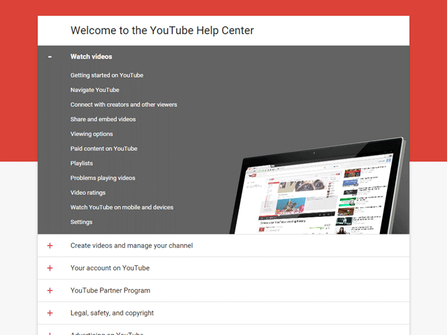 YouTube Help Center Home Page