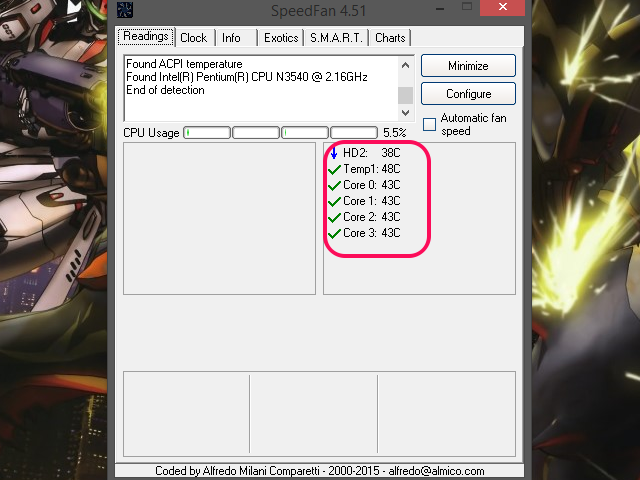 The SpeedFan window, with the Temperature section highlighted.