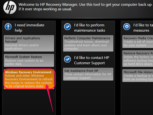 Select HP Recovery Environment or Windows Recovery Environment.