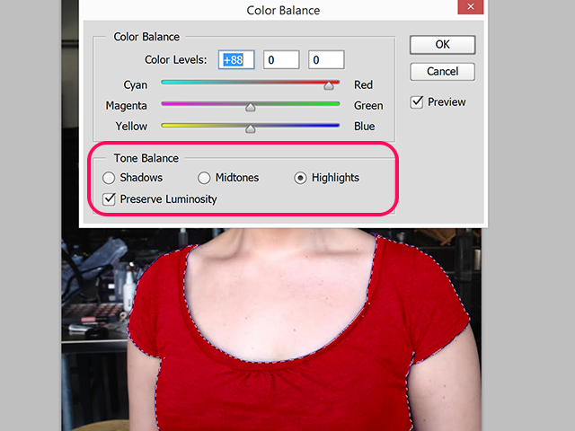 Change the Tone Balance to re-color Shadows, Midtones and Highlights.