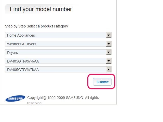 Find the Samsung model number.