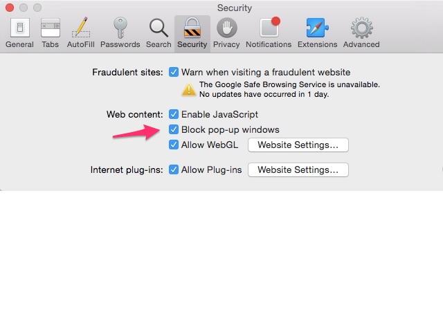 Safari Security Preferences