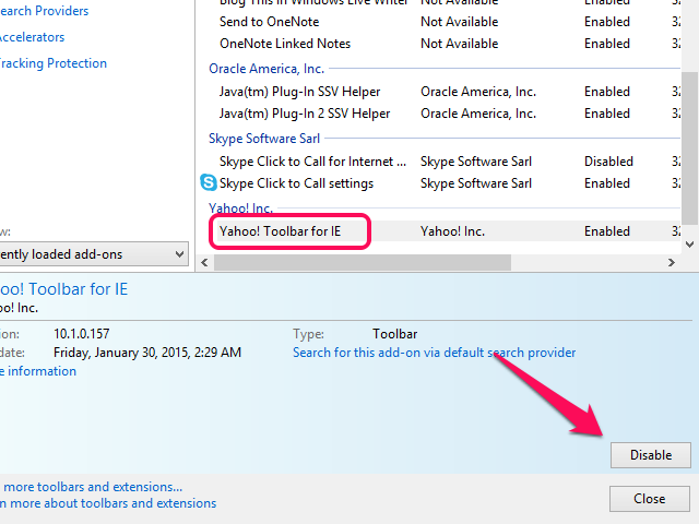 Yahoo Toolbar for IE entry in the Manage Add-ons window.