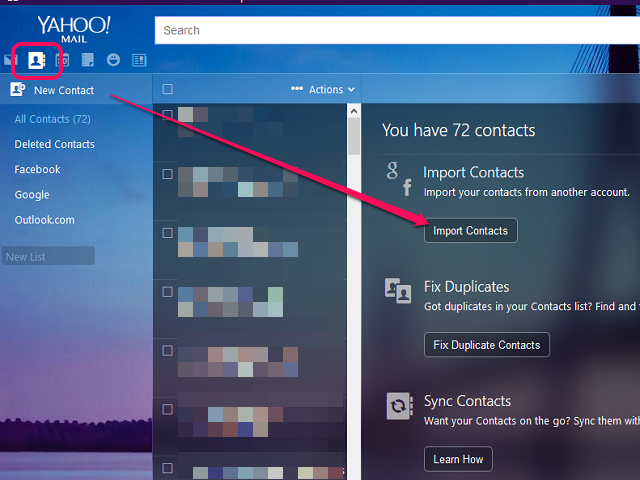 Go to your contacts and Import Contacts.