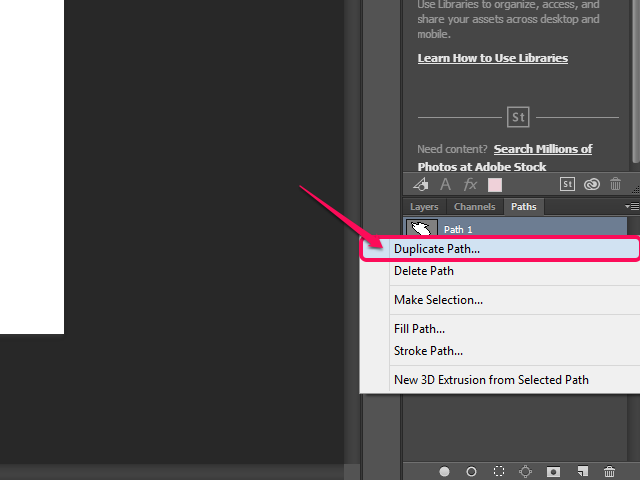 Select Duplicate Path from the path layer's context menu.