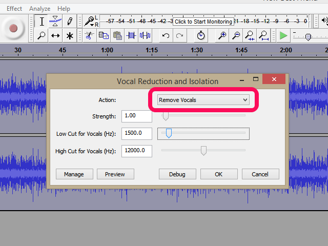 Select Remove Vocals.