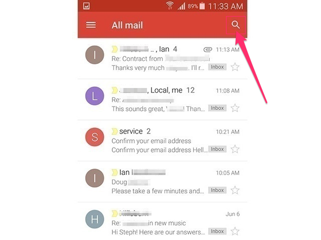 Gmail app (Android 5.0)