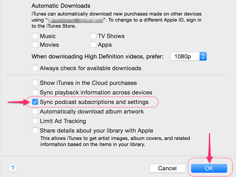 Click Sync Podcast Subscriptions and Settings