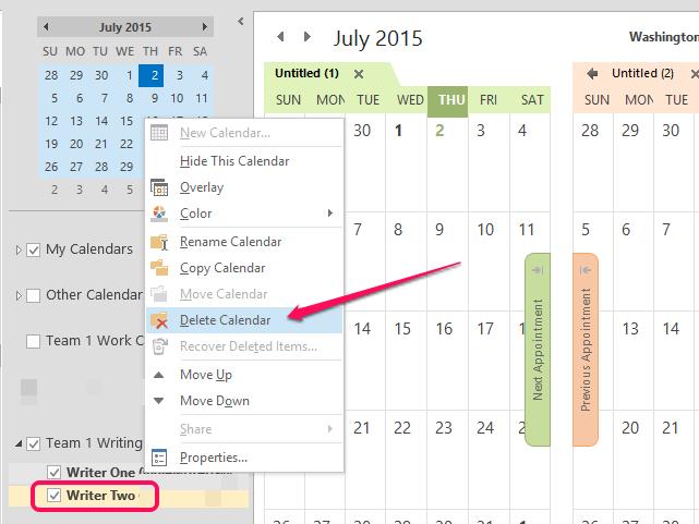 Click Delete Calendar.