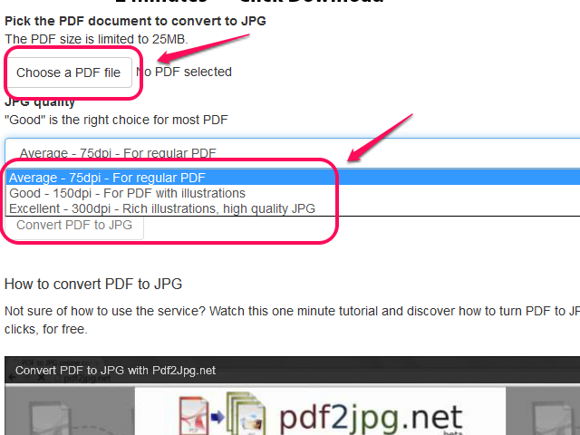 Choose the quality and click Choose a PDF File.