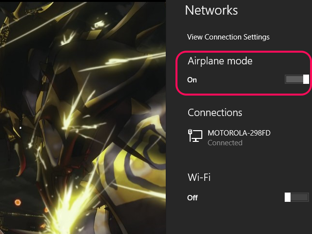 Airplane mode in the On position switches off Wi-Fi.