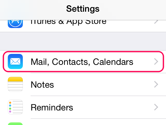 Open Mail, Contacts, Calendars in the Settings menu.