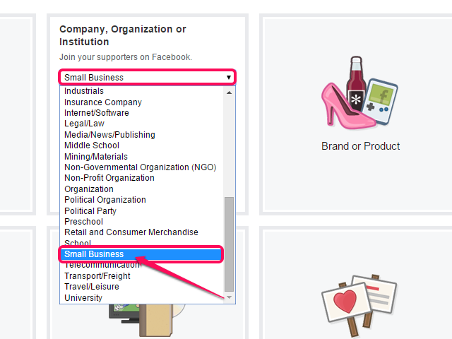 Select your business type from the Choose a Category drop-down.