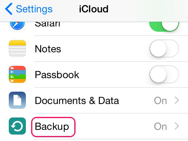 ICloud backup settings.